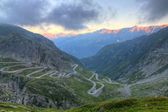 Old road with tight serpentines of the St. Gotthard pass — Stock Photo