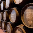 Port wine ages in barrels in cellar — Foto de Stock