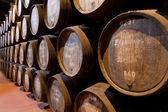 Edades del vino de oporto en barriles en bodega — Foto de Stock