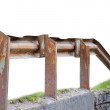 Old aged rusty grunge metallic bridge rail, isolated - Stock Photo