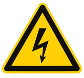Danger Electrical Hazard High Voltage Sign Isolated Macro — Stock Photo