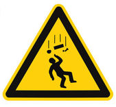 Danger Falling Objects Warning Sign Isolated Macro — Stock Photo