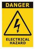 Danger Electrical Hazard Sign With Text Isolated — Stock Photo