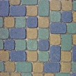 Cobblestone Texture Background Closeup in blue, green, yellow — Stock Photo