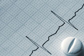Cardiogram Tape Graph Macro Closeup And Pill in Blue — Stock Photo