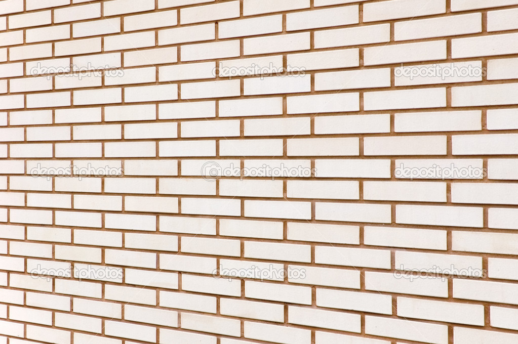 Beige fine brick wall texture background perspective, large  Stock Photo #5799942