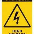 Stock Photo: Danger High Voltage Sign With Text Isolated Yellow Badge