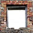 Ruined rustic limestone boulder rubble wall window frame — Stock Photo #5800583