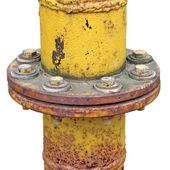 Weathered old aged grunge gas pipe connection flange isolated — Stock Photo