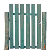 木制门岁的绿色风化孤立花园的栅栏入口 — 图库照片