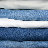 Blue And Khaki Jeans Stack Closeup — Stock Photo