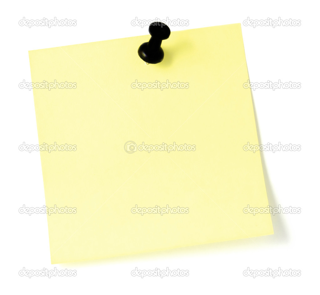 Blank Yellow Post-It  style To-Do List with a pushpin, isolated on white — Stock Photo #5800576