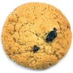 Oatmeal raisin cookie macro closeup isolated on white — Stock Photo #6376873
