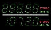 VFD Dot Matrix FM Radio Digital Display Macro In Green — Stock Photo