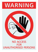 No access for unauthorised persons sign isolated — Stock Photo