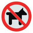 No dogs / pets allowed, warning sign, isolated round signage — Stock Photo