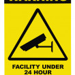 Stock Photo: Facility protected by video surveillance text sign