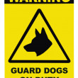 Yellow and black Warning Guard Dogs On Duty Text Sign — Stock Photo