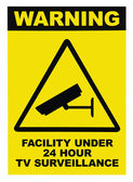 Facility protected by video surveillance text sign — Stock Photo