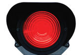Red light railway traffic dwarf signal set at stop / danger, isolated — Stock Photo