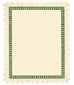 Blank Vintage Postage Stamp And Green Vignette Macro, Isolated — Stock Photo