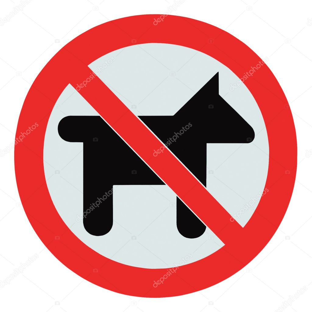 No dogs / pets allowed, warning sign, isolated round signage — Stock Photo #6528427
