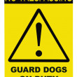 Yellow and black No Trespassing Guard Dogs On Duty Text Sign — Stock Photo