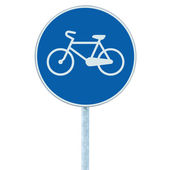 Bicycle lane sign indicating bike route blue round isolated traffic signage — Stock Photo