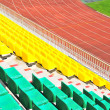 Rows of plastic chairs at the stadium — Stock Photo