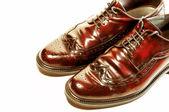 分離した昔ながらの茶色の靴のペア — ストック写真