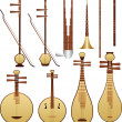 Chinese music instruments — Vettoriali Stock