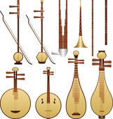 Chinese music instruments — Stock Vector