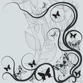 Streszczenie tło kwiaty i motyle — Wektor stockowy