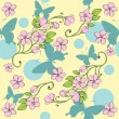 Seamless background with decorative nice butterflies and flowers — Stock Vector #6282934