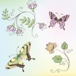 Set of flowers and butterflies — Stock Vector