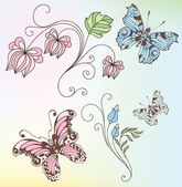 Conjunto de flores e borboletas — Vetor de Stock