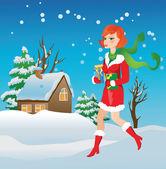 Flicka med gåvor på vintern bakgrund — Stockvektor