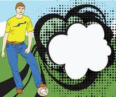 男孩与绿色背景上的球 — 图库矢量图片