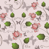 Seamless background with flowers and butterflies — Stock Vector