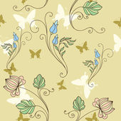 Seamless background with flowers and butterflies — Vecteur