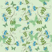 Sömlös bakgrund med blommor och fjärilar — Stockvektor
