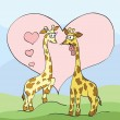 Two giraffes with hearts — Stock Vector