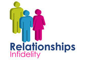 A graphic image representing infidelity within a relationship, set with text in blue and pink. Stylized figures represent a male and female couple. — Stock Photo