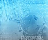 Blue technology background with world — Stock Photo