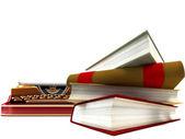 Zabytkowe maszyny do pisania i stos książek — Zdjęcie stockowe