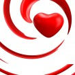 Red heart on white background — Stock Photo