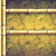 Bamboo border and decorative floral background — Stock Photo