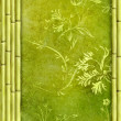 Bamboo border and green decorative floral background — Stock Photo