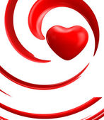 Red heart on white background — ストック写真