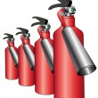 Group of red fire extinguishers — Stock Vector #5440029